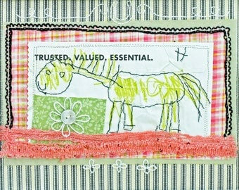 Primitive Horse Child's Room Decor Embroidered Mixed Media Collage - Mr H