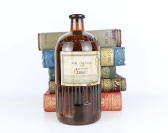 Antique Poison Amber bottle The London Essence Co Ltd - LARGE 23cm