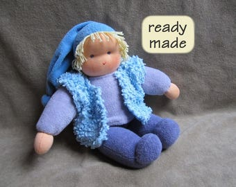 Waldorf doll 'Loetje'. Doll for children, natural material, length: 34 cm (13.5 inches)