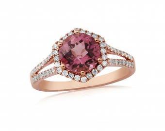 Pink Tourmaline & Diamond 18ct Rose Gold Ring