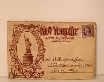 ON SALE Antique 1916 or 1918 New York City Souvenir Postcard Folder WWI Soldier World War I Mailed Stamped Old Vintage