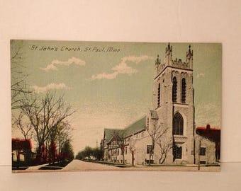 ON SALE St Paul Minnesota MN St John's Church Early 1900's Vintage Old Antique Postcard