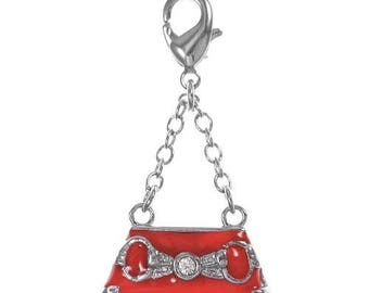 BAG CHARM TO HANDMADE RED WITH LOBSTER CLASP