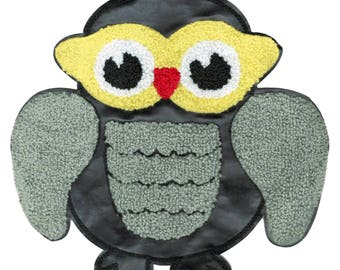 Xl Extra Large 20cm Chenille & Black Vinyl Owl Patch Applique
