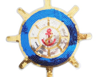 XXL Extra Large Stunning Blue & Gold Sequin Ships Steering Wheel Helm Patch 22cm Applique