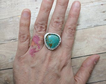 Turquoise & Sterling Silver Ring Custom Sized, 6 7 8 9 10, handmade gift for her, triangle stone, spring fashion, southwest, easter jewelry