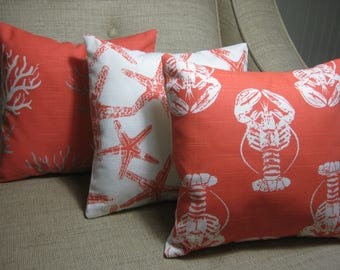 """Nautical Beach Throw Pillows with INSERT in Coral 12""""x12"""", Home Decor, Cottage Decor, Beach Pillows (Choose Pattern)"""