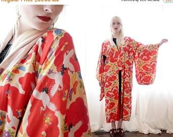 20% OFF SALE Vintage silk and cotton Japanese kimono Haori oriental Asian crane motif red yellow blue