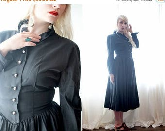 BIG SALE Vintage 1940s black taffeta long sleeve fitted pointed waist silver button Gothic Hollywood glamor dress Eleanor Green California