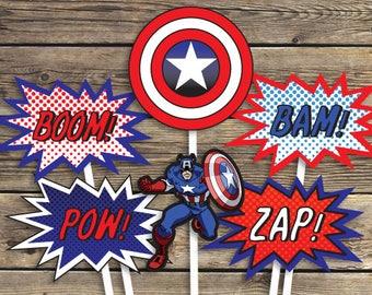 Captain America Printables - Sign - Centerpiece photo prop - Super hero - Birthday Party - INSTANT Download PDF