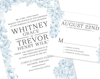 Floral / Botanical Wedding Invitation | DIY Option Available | Invitation | RSVP | Info Card #1212