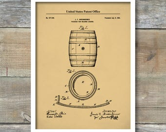 Whiskey Barrel Patent Poster, Whiskey Art, 1901 Bourbon Whiskey Making ,Whiskey Industry,  Bar And Pub Wall Art, P512