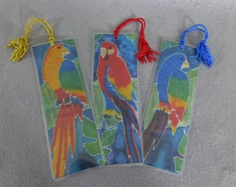 "Bookmarks (set of 3) ""Parrots"", Silk Art Bookmarks"