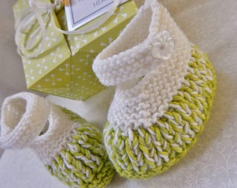 Baby Shower Gift, Knitted Baby Shoes, New Baby Shoes, White & Lime Green, Baby Gift Set, Baby Booties, Baby Keepsake Gift, Unique Baby Gift