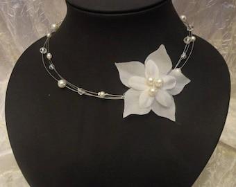 Necklace / headband Zelie bohemian retro wedding bridal pearl beads and swarovski crystal  Collier /headband mariage mariée bohéme