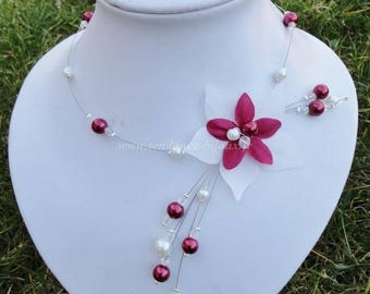 Bridal necklace, wedding, ivory (or white) glass beads and Burgundy, silk flower