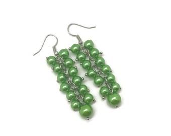 Green Pearl Earrings, Green Earrings, Pearl Cluster, Cluster Earrings, Green Pearl Cluster Earrings, Long Pearl Earrings, Pearl Earrings