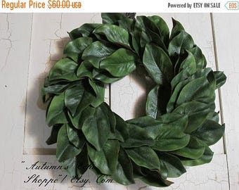 ON SALE NOW Magnolia Wreath ~Faux Magnolia Door Decor ~ Handmade Magnolia Decor~Handcrafted Wreath~Farmhouse Style Decor Wreath~Front Door W