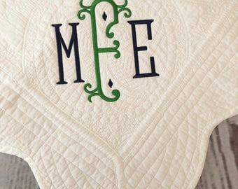 Monogrammed baby blanket, baby quilt, baby shower gift