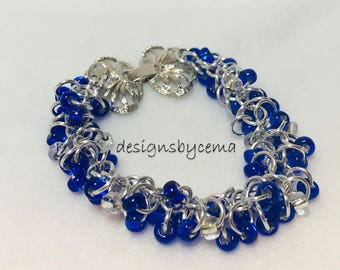 Shaggy loop bracelet in royal blue and silver