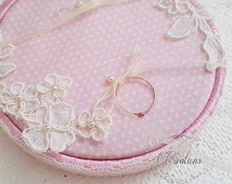 Ring Pillow {Circle} vintage pink cotton, ivory lace and guipure flower