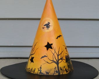 Halloween painting, Halloween luminary, Halloween folk art, Witches hat, ghosts, bats, haunted house, full moon, black cat