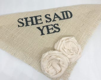 She Said Yes Ivory Dog Wedding Bandana Engagement Photos Save the Date Cards Wedding Accessories
