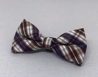 Small Brown Multi Plaid Bowtie for Wedding Dog Outfit Pet Wedding Blue Bow Tie Dog Collar