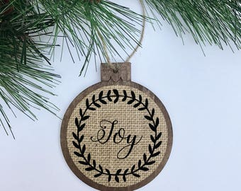Joy / Rustic / Christmas Ornament / Wood Burlap / Christmas Gift