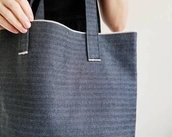 Market Tote - Denim Bag - Denim Tote Bag - Selvedge Denim - Herringbone Bag