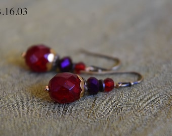 Red Czech Glass Bead with Brass Findings