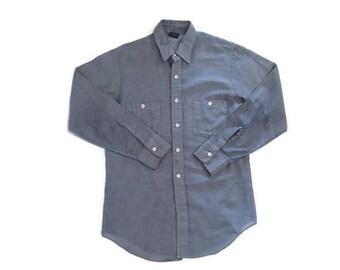 Vintage Thin Blue Button Up Shirt