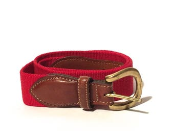 Vintage 1980s Bright Red Canvas and Leather Trafalgar Preppy Belt/Made in USA