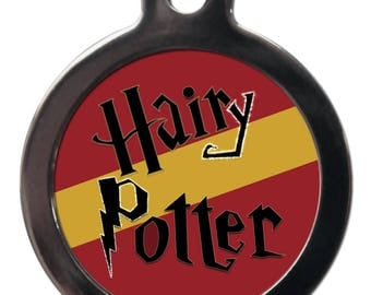 Hairy Potter - 'Harry' Gold and Red Pet ID Tag - TV Film Pet Dog Cat Identity Tags - FREE Personalised Text On Reverse