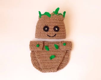 Groot Costume Hat And Diaper Cover, Beanie From Guardians of the Galaxy - Halloween / Cosplay / Baby Shower