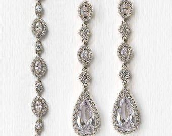 Wedding Jewelry Set,Silver Bracelet and Earring set, Bridal Jewelry, Bridal Accessories Silver Wedding Jewelry B223+E146