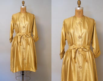 Gold Rush Dress / 1940s Gold Lame Maxim Belted Dress Coat