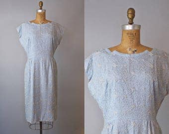 1950s Blue Embroidered Dress  / 1950s Dress / 50s Blue Dress
