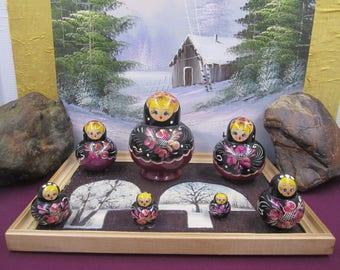 Vintage  Russian Matryoshka Nesting Dolls on a tray