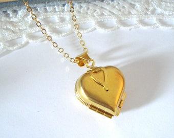 Folding Heart Locket, Four Fold Locket, Gold Locket Necklace, Four Picture Locket, Gift for Mom, Gift for Her