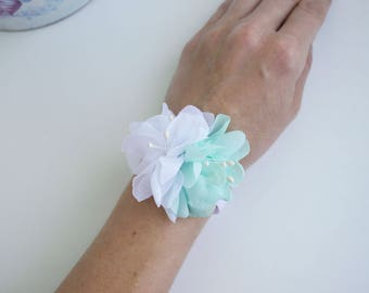 Aqua mint flower wrist corsage, Flower girl bracelet, Chiffon Flower corsage, Bridesmaid Corsage , Flower girl corsage, beach wedding