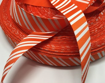 3 yards Halloween Fall Autumn orange and white diagonal stripe grosgrain ribbon