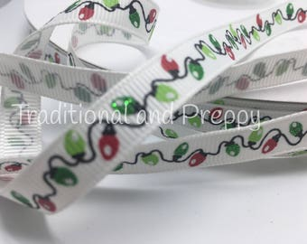 "3 yards 3/8"" glitter Christmas lights Merry and Bright grosgrain"