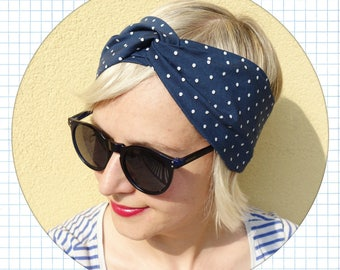 cotton headband , women cotton turban, intersect headband, cotton hair band, summer headband, blue with white polka dots headband