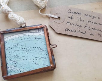 Personalised Zodiac Star Sign Vintage Map Frame - choose your star sign and message for the reverse
