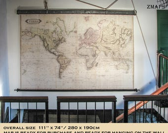 Vintage world map etsy magnificent huge map world 1800 111 x 74 280 publicscrutiny Gallery