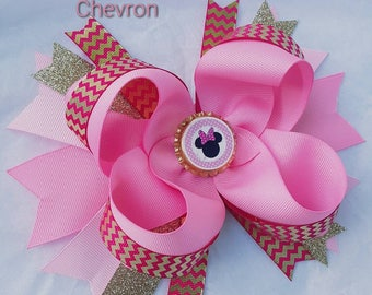 Minnie Mouse Pink Chevron