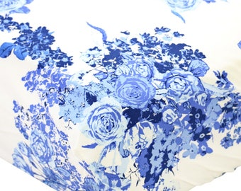 Juliet's Blue and White Floral Crib Sheet | Blue and White Floral Baby Girl Fitted Crib Sheet | Floral Baby Crib Set