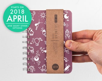 2018 2019 Planner Small size thick quality paper Weekly pocket Diary Calendar Kalender Journal Agenda - Cute icons on the cover! Open-dated