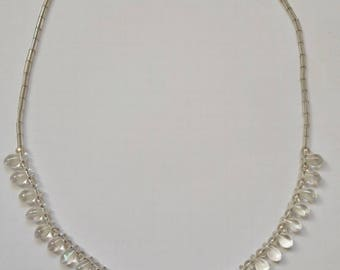"""Ras necklace neck """"tears"""" Crystal Swarovski pearls, and Sterling Silver 925"""